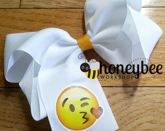 CLEARANCE sale - kissing face emoji bow - bow with tail for boutique - kiss face emoji bow