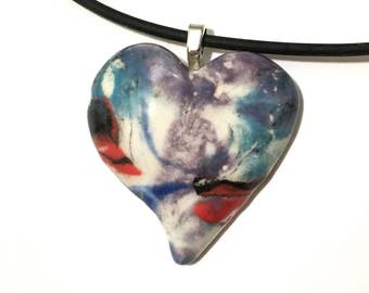 Heart Pendant Necklace, Heart Jewelry, Hand-Built Ceramic Heart, Handmade Jewelry Gift