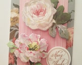 "Handmade Thank you Card - 5,5"" x 4"" -Anna Griffin greeting card"
