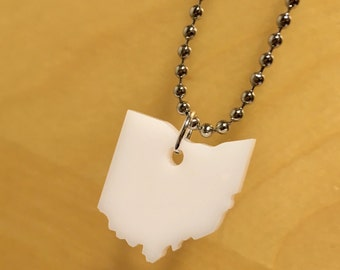State Necklace, Ohio Necklace in Translucent White Acrylic Plastic, Small Size