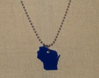 Small State Necklace, Wisconsin Necklace in Blue, Acrylic Necklace, State Jewelry