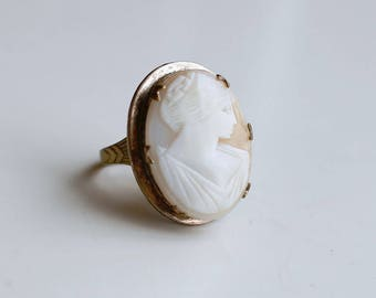 1930s art deco large brass cameo ring / 30s vintage carved shell big cameo woman portrait cocktail ring size 5 adjustable