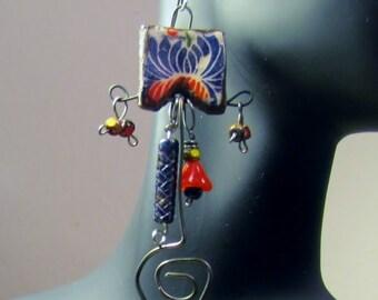 Blue/Yellow/Red Ceramic Bead Earrings
