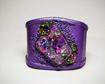 Adjustable purple leather bracelet cuff multi-color  sea sediment jasper. Statement bracelet wristband bangle. swarovski rhinestone crystals