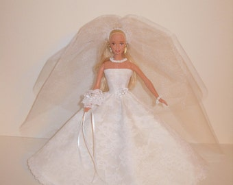 Handmade Barbie clothes - Adorable wedding gown, corsage,  veil, necklace & bracelet for barbie