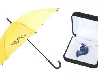 Soul Mate Gift Set (Yellow Umbrella & Blue French horn Necklace), inspired by How I Met Your Mother