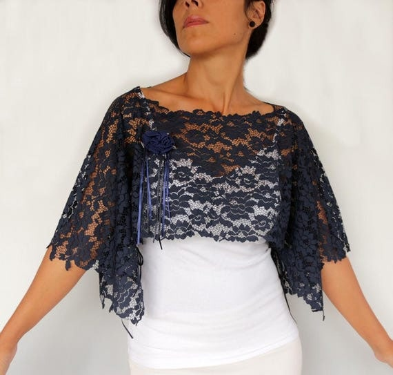 Wedding Gown Cover Ups: Navy Lace Tunic Top Dress Cover Up Dark Blue Bridal Shrug