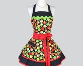 SALE Ruffled Retro Apron , Candy Apple Red and Granny Smith Apple Green with Black Dots Womens Apron Ideal Personalized Birthday Gift for He