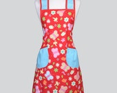 Chef Apron . Cute Retro Red Butterflies Trimmed in Teal Swiss Dots is a Woman Vintage Apron Kitchen Design Perfect Gift for Her