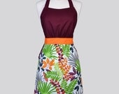 Classic Retro Apron / Ferns and Twigs Floral in Burgandy Green and Pumpkin Vintage Style Chef with Built in Side Pockets and Fitted Bodice