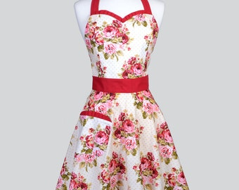 Sweetheart Womens Retro Apron . Red Roses on Ivory Vintage Style Kitchen Apron Makes Ideal Wedding Bridal or Hostess Gift for Her