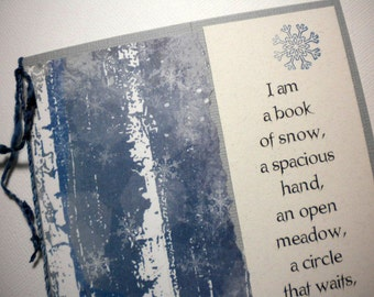WINTER BELONGING - Mixed media greeting card with bookmark - quote by Neruda