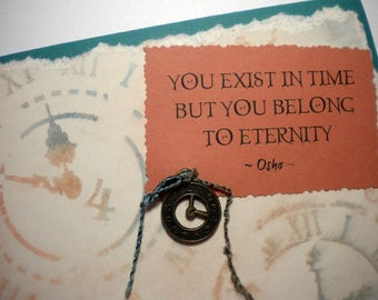 EXISTENCE & BELONGING - Mixed Media Collage Greeting Card, quote by Osho