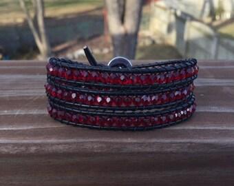 Garnet Glass Beaded Wrap Bracelet with Tree of Life Button