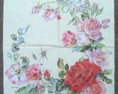97(2). Rose, * Price is for one napkin *, Paper Napkins, napkins for decoupage, Flowers, beige background