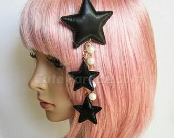 Black Triple Star Hair Clip Brooch with White Pearls- Lolita Fairy Kei Decora Kawaii Shooting Star Hair Accessory