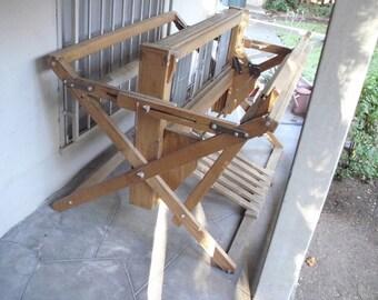 Weaving Loom Floor // Vintage Kessenich 6 Pedal // Large Wooden Wood // 4 Harness Rug Rag Rugs // Made in USA // Has Wear See Description
