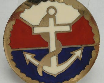 Vintage Nautical Anchor Red White & Blue Brooch Enamel Pin