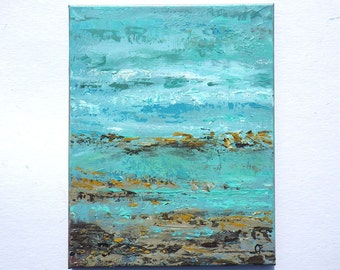 Abstract beach painting, abstract ocean painting in turquoise and blue, vertical 11x14 original beach painting
