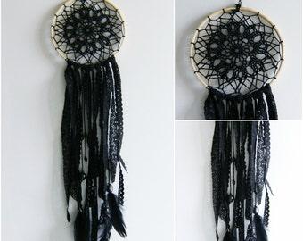 Black wall hanging ,dream catcher,crochet mandala , ready to ship