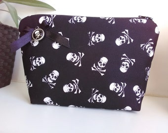 Skulls   fabric  purse, make up bag , crafts  , handmade,Claudia Candeias, ready to ship