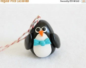 CHRISTMAS SALE Miniature Polymer Clay Penguin Christmas Ornament
