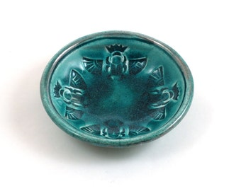 Raku Pottery Egyptian Scarab Bowl
