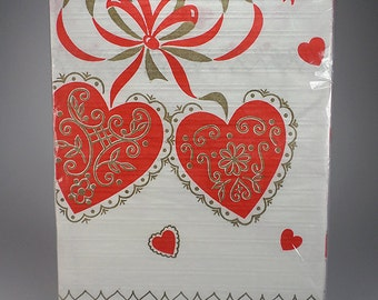 Vintage 1960's Valentine's Paper Table Cover, Red and Gold, 54 x 88, NEW, Tablecloth, Party Table Decor
