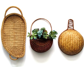 Wicker Basket Collection, Wicker Wall Pocket, Big Round Scoop, Double Handle Tray, Boho Wall Decor