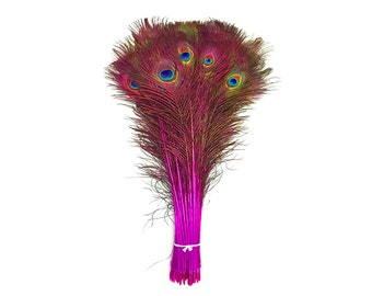 "Peacock Feathers, 100 Pieces - 30-35"" Hot Pink Dyed Over Natural Peacock Tail Eye Wholesale Feathers (Bulk) : 4205"