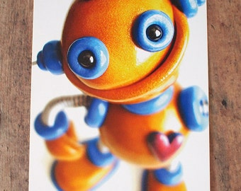 Happy Golden Robot Sculpture Art Postcard