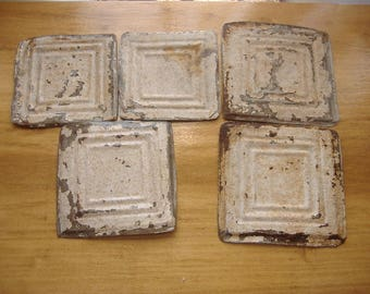 "lot Salvaged Genuine Antique Tin Ceiling Tiles, 6"" x6"" Off-White Lead Paint. CHIPPY, Rusty, as-is."