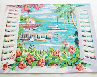 Handpainted Seaside Picture, finished paint by number scenery picture
