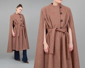 ON SALE Vintage 70s Cape Brown Wool Coat Full Length Poncho Vintage 1970s Long Belted Cape Coat Tie Belt Small Medium S M
