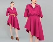80s Purple Dress, Asymmetrical Dress, Full Dress, Circle Skirt Dress, Natural Cotton Dress, 80s Shirt Dress Small Medium S M