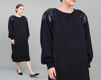 Vintage 80s Black Sweater Dress - Slouchy Oversize Dress - Iridescent Beaded Sequin Dress - 1980s Minimalist Midi Dress - Medium Large M L