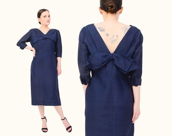 Vintage 50s Navy Silk Dress - V Neck Large BOW Tailored Fitted Wiggle Dress 1950s Cocktail Midi Dress Medium M