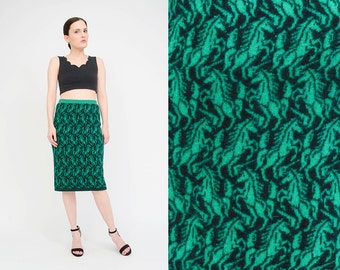 BENETTON Vintage 80s Wool Knit Skirt Novelty HORSES Graphic Sweater High Waist Tight Pencil Skirt Green Black Medium M