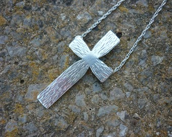 Modernist Mid Century Cross Sterling Silver with Chain