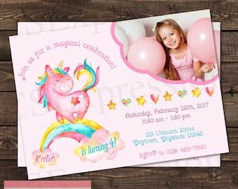 Pink Unicorn Pony Rainbow  Birthday Photo Invitation