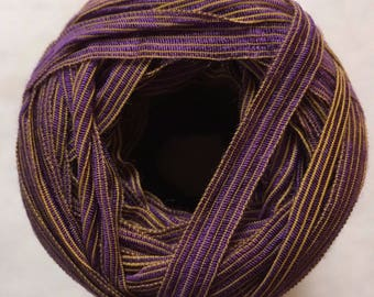 Crystal Palace Deco Ribbon Yarn #211 Berry Lemon 50gram 80yds - Purple with Yellow Pinstriped