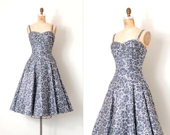 vintage 1950s dress | grey and silver metallic painted 50s holiday dress | Chasing Silver