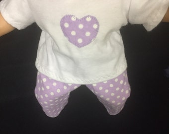 Doll Clothes for 15 Inch Dolls, Handmade to Fit Like Bitty baby or Bitty twin dolls, Lavender Heart Pajamas Polka Dot Pajamas Last One