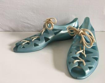 Vintage Shoes Women's 80's Unworn, Jelly Sandals, Pearl Blue, Lace Up (Size 6)