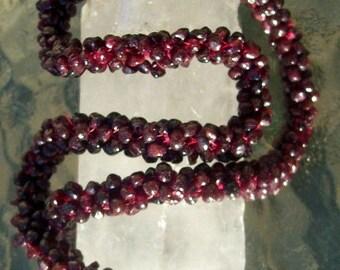 ON SALE LONG Garnet Necklace Beautiful garnet necklace, garnet necklace, long beaded necklace, stone necklace, garnet