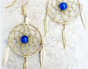 "EPIC SALE Dream catcher earrings gold with Feathers & Lapis- 1"" dreamwebs, dreamcatcher earrings, lapis earrings, dangle earrings with Lapis"