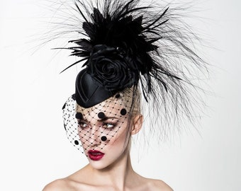 Black feathered fascinator, Black cocktail hat, Black Kentucky derby hat, Derby hat