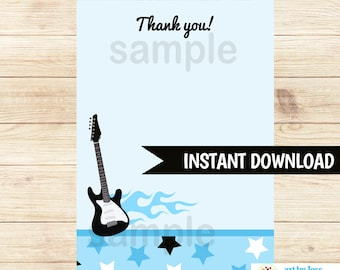 Blue Rock Star Baby Shower Flat Thank you note Card   Printable INSTANT DOWNLOAD bs-056