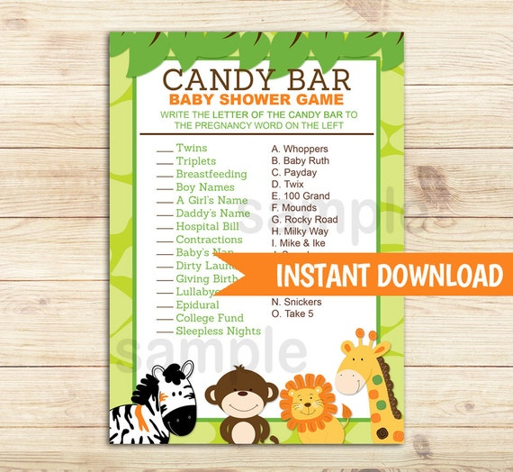 Candy Baby Shower Game: Bright Jungle Safari Candy Bar Matching Baby Shower Game