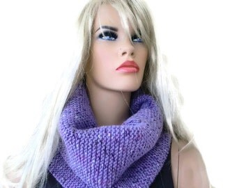 Winter Lilac winter infinity scarf- Speckled Lilac HARASHO men scarf-Hand knitted simplicity cowl, Unisex Warm winter scarf-